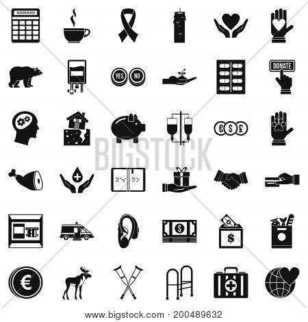 Donation in medicine icons set. Simple style of 36 donation in medicine vector icons for web isolated on white background