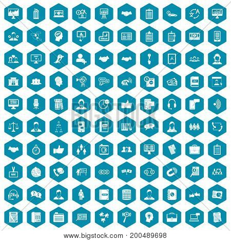 100 discussion icons set in sapphirine hexagon isolated vector illustration