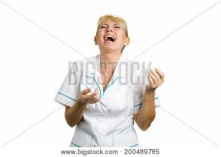 Laughing nurse on white background. Portrait of excited nurse or doctor on white background.