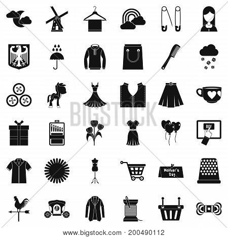 Fashion dress icons set. Simple style of 36 fashion dress vector icons for web isolated on white background