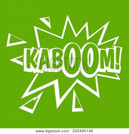 Kaboom, explosion icon white isolated on green background. Vector illustration