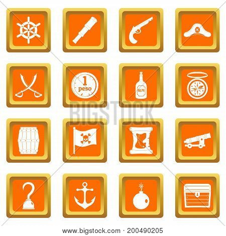 Pirate icons set in orange color isolated vector illustration for web and any design