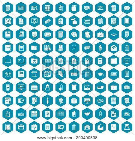 100 document icons set in sapphirine hexagon isolated vector illustration