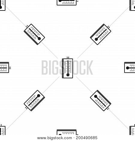 Thermometer pattern repeat seamless in black color for any design. Vector geometric illustration