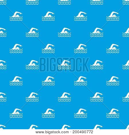 Swimmer pattern repeat seamless in blue color for any design. Vector geometric illustration