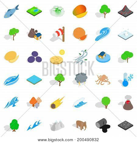 Animal of earth icons set. Isometric style of 36 animal of earth vector icons for web isolated on white background