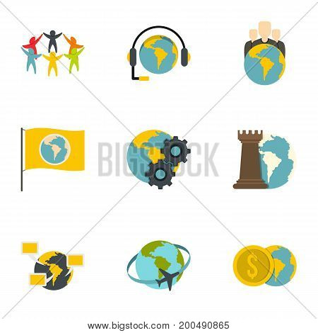 Global icon set. Flat set of 9 global vector icons for web isolated on white background