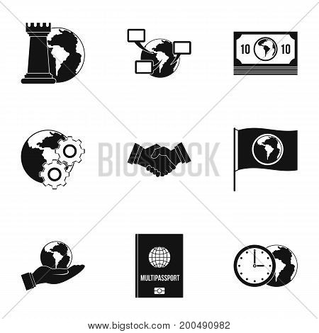 Global icon set. Simple set of 9 global vector icons for web isolated on white background