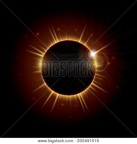 An illustration depicting a total eclipse of the sun, an occurrence that is rarely visible and happens when the moon passes directly between the sun and the earth and temporarily blocks it out.