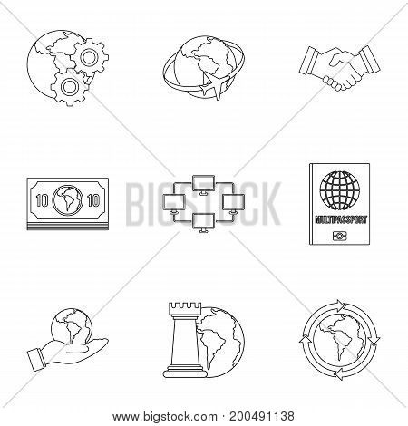 Global icon set. Outline set of 9 global vector icons for web isolated on white background