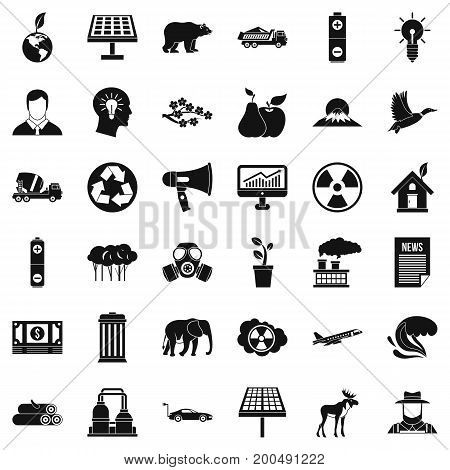 Care of planet icons set. Simple style of 36 care of planet vector icons for web isolated on white background