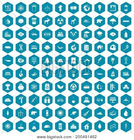 100 eco icons set in sapphirine hexagon isolated vector illustration