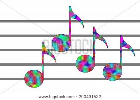 Multicolor notes and musical staff on the white background