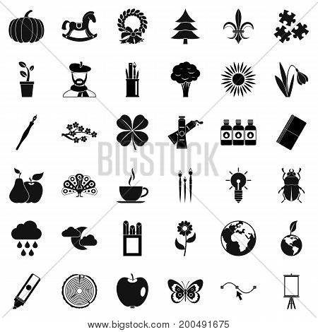 Ecology art icons set. Simple style of 36 ecology art vector icons for web isolated on white background