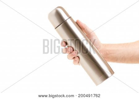 Thermos in male hands isolated on white background isolation