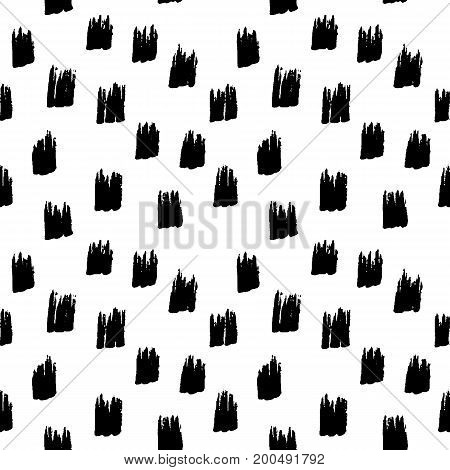 Abstract geometric seamless hand drawn pattern. Monochrome marker painted background. Modern grunge texture. Texture with black strokes.