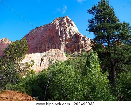 Picturesque view of mountain along Taylor Creek Trail, Kolob Canyons, Zion National Park, Utah, USA