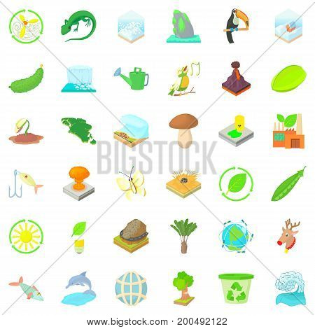 Ecology in planet icons set. Cartoon style of 36 ecology in planet vector icons for web isolated on white background