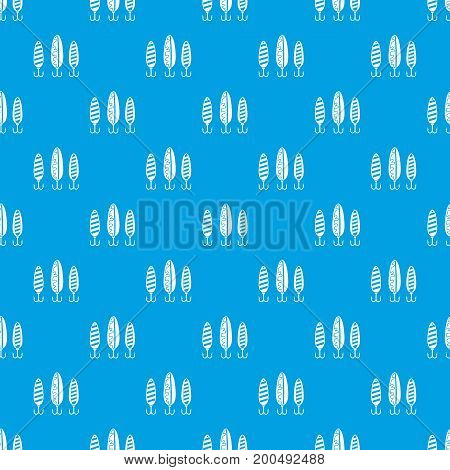 Plastic fishing lure pattern repeat seamless in blue color for any design. Vector geometric illustration