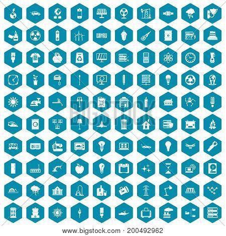 100 electricity icons set in sapphirine hexagon isolated vector illustration