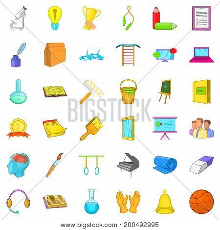 Education in country icons set. Cartoon style of 36 education in country vector icons for web isolated on white background