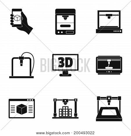 3d printer icon set. Simple set of 9 3d printer vector icons for web isolated on white background