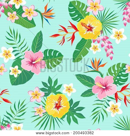 Bright tropical seamless pattern with hibiscus frangipani heliconia and bird of paradise flowers on aquamarine background.
