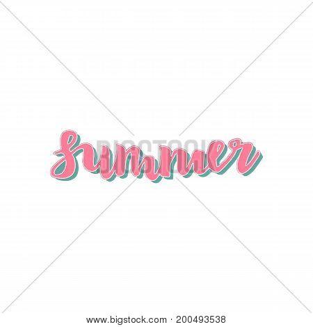 Summer quote - Hello summer. Brush pen handwritten lettering inspirational typography. Vector isolated