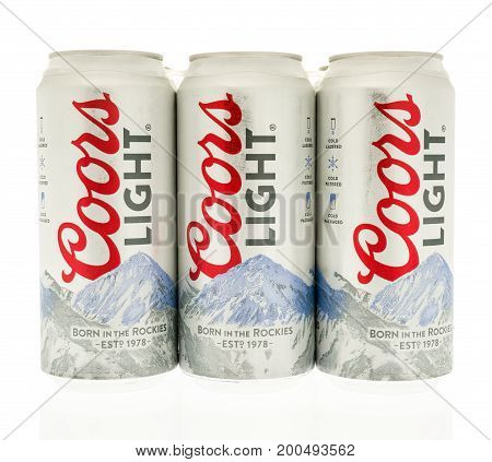 Winneconne WI - 14 August 2017: A six pack of Coors Light beer in cans on an isolated background