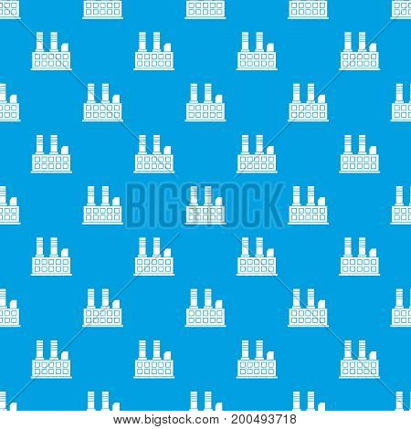 Factory building pattern repeat seamless in blue color for any design. Vector geometric illustration