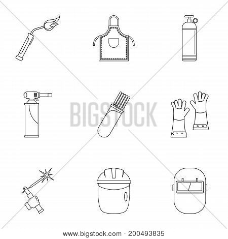 Welder icon set. Outline set of 9 welder vector icons for web isolated on white background
