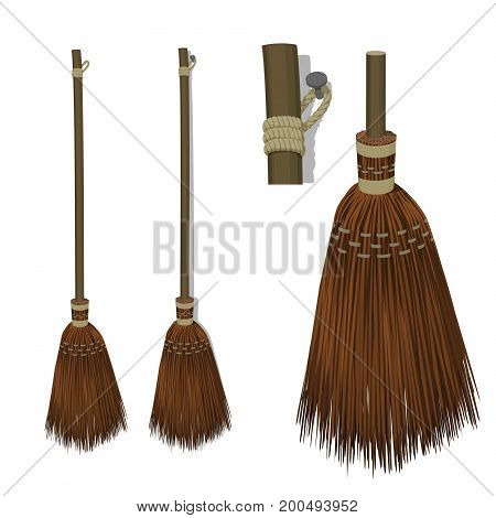 Isolated wooden vintage broom on transparent background