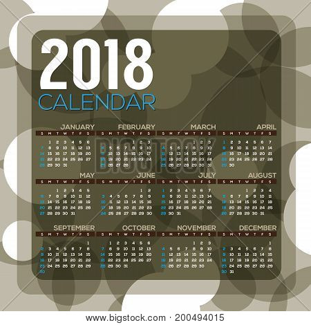 2018 Dark Green Circle Pattern Printable Calendar Starts Sunday Vector Illustration. EPS 10