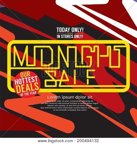 Midnight Sale Hottest Deal Promotional Square Banner Vector Illustration. EPS 10