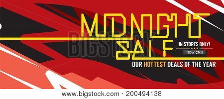 Midnight Sale Hottest Deal Wide Banner For Advertising Marketing Promotional Vector Illustration. EPS 10