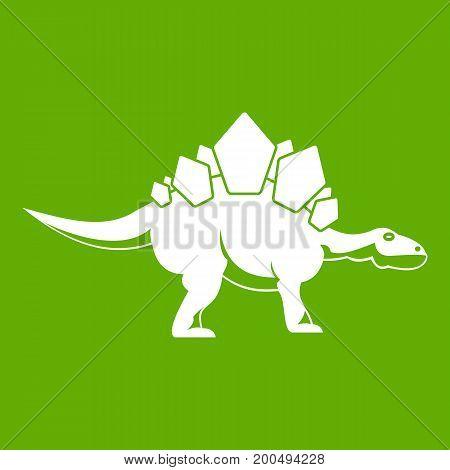Stegosaurus dinosaur icon white isolated on green background. Vector illustration