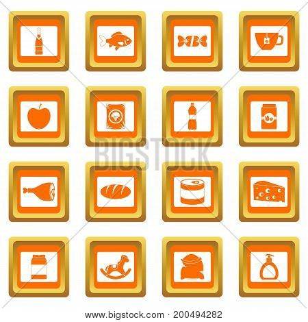 Shop navigation foods icons set in orange color isolated vector illustration for web and any design