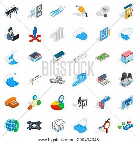 Electricity station icons set. Isometric style of 36 electricity station vector icons for web isolated on white background