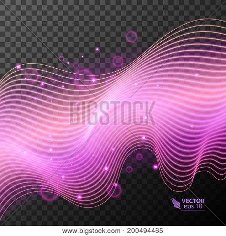 Glowing light effect in pink color on transparent background