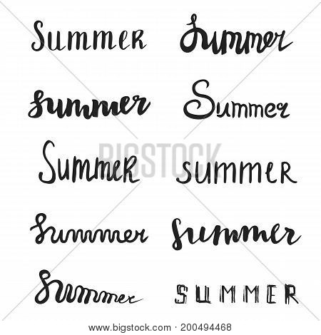 Summer quote collection. Brush pen handwritten lettering inspirational typography. Vector isolated
