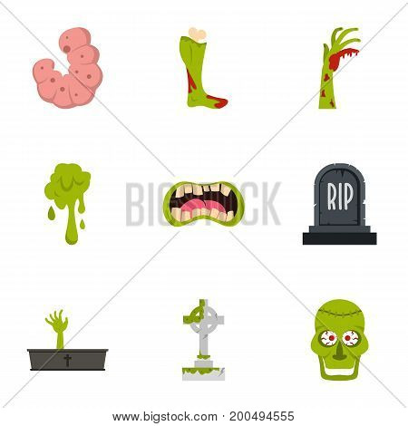 Green zombie icon set. Flat set of 9 green zombie vector icons for web isolated on white background