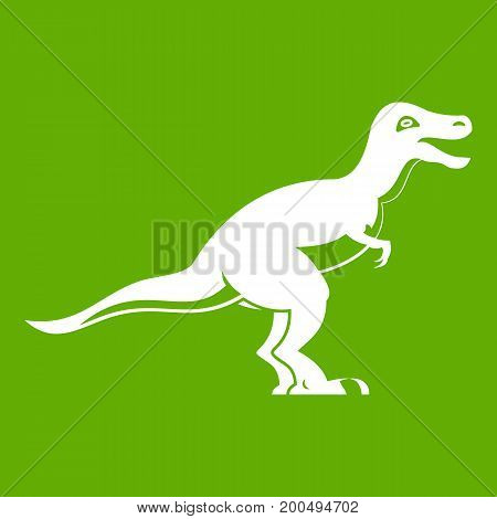 Theropod dinosaur icon white isolated on green background. Vector illustration
