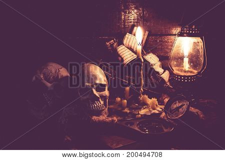 Skull and scary scene for Halloween decoration