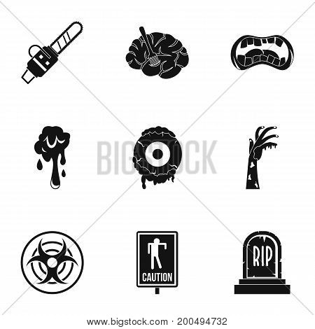 Zombie part icon set. Simple set of 9 zombie part vector icons for web isolated on white background
