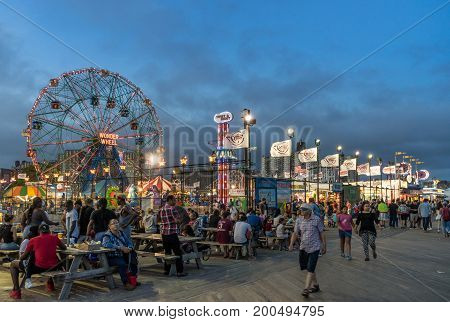 Brooklyn New York - August 4 2017: Evening view of Coney Island's Luna Park in Brooklyn New York.