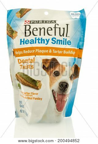 Winneconne WI - 19 August 2017: A bag of Purina Beneful dental twists treats in an isolated background