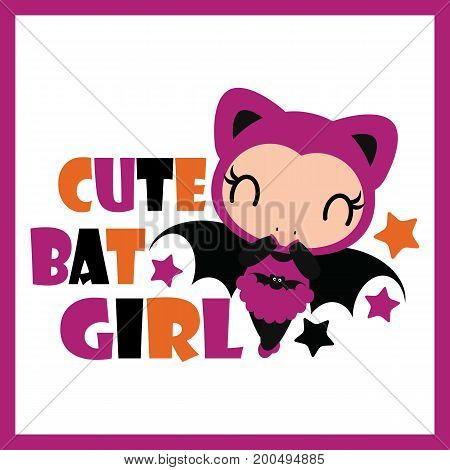Cute bat girl with stars vector cartoon illustration for halloween card design, wallpaper and kid t-shirt design