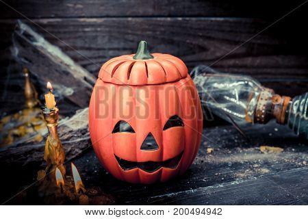 Halloween pumpkin and trick or treat scene
