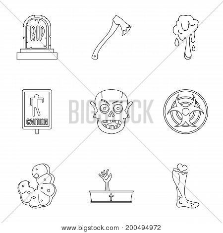 Zombie element icon set. Outline set of 9 zombie element vector icons for web isolated on white background