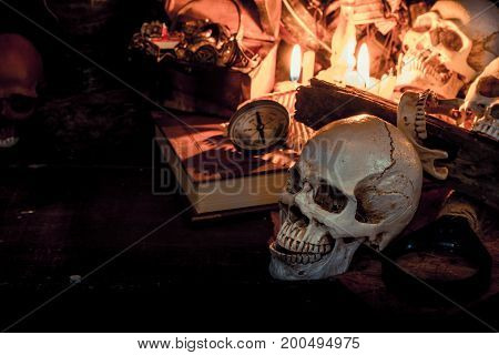 Skull and scary scene for Halloween party decoration